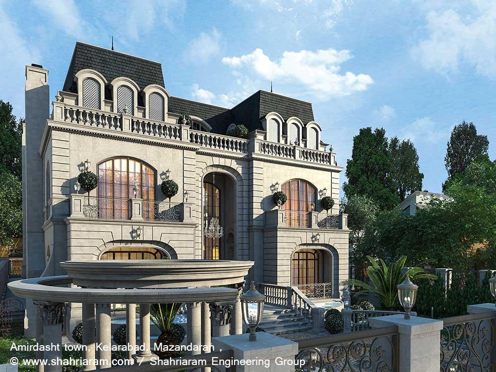 طراحی ویلا ویکتورین شهرک امیردشت کلارآباد مازندران