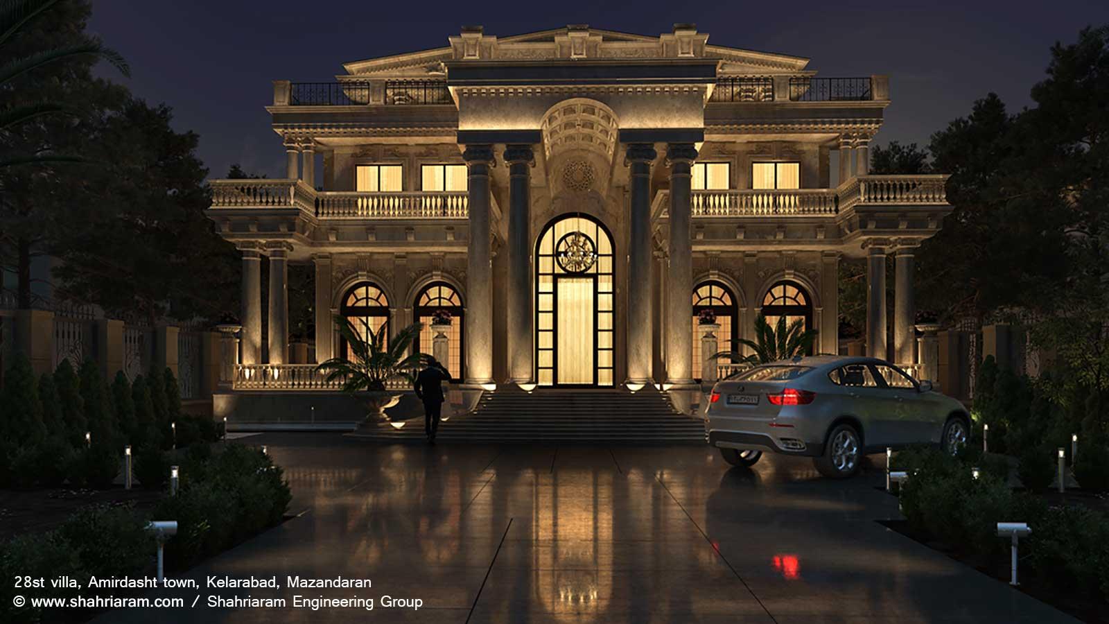 طراحی ویلا کلاسیک شهرک امیردشت کلارآباد مازندران